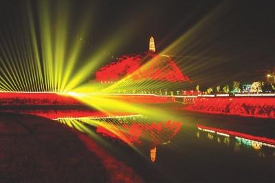 延安宝塔山大型多媒体景观灯光投影表演现场灯效.